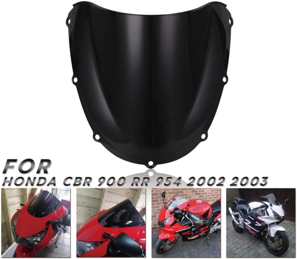 QOHFLD Pare-Brise Moto,pour Honda CBR900RR 954 2002 2003 Pare-Brise Noir Pare-Brise /à Double Bulle Pare-Brise et d/éflecteurs de Vent