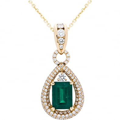 carat pid solid gold total with cut pendant d white halo design diamond emerald