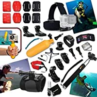 Xtech Underwater Diving Accessories Kit Includes: Head Strap Mount + Extendable Monopod Pole + Camera Wrist Mount + Helmet Mount + Bike Handlebar Mount + 2 J-Hooks + Floating Sealed Bobber + 2 Curved Adhesive Stickers + Curved Surface Mounts + MORE for GoPro Hero Cameras