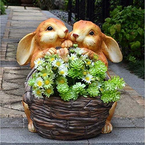 庭の装飾クリエイティブダブルラビットフラワーバスケット防水樹脂庭の庭の風景芝生の装飾工芸品のギフト-38 * 36 * 39.5cm A