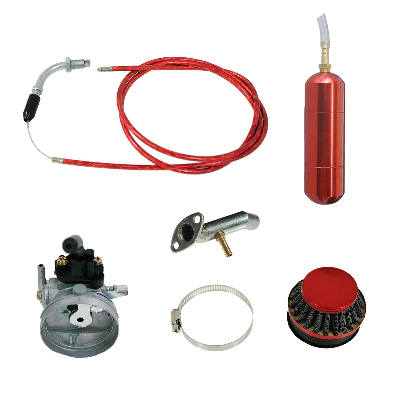 NORTHTIGER Red Carburetor&Power Boost Bottle&Air Filter Fit 49/60/66/80cc Motorized Bike