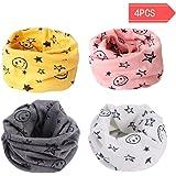 Danolt Multiuso Sciarpa per Bambini, 2 in 1 Cute Cappello del Cotone Sciarpa O-Scaldacollo Loop per Bambino 0-3 Anni, 4 Pack.