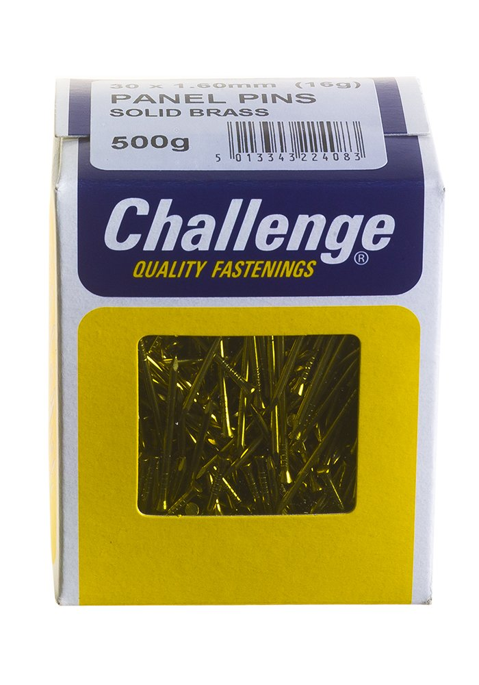 Challenge 30 x 1.60mm 500g Solid Brass Panel Pins Frank Shaw 22408