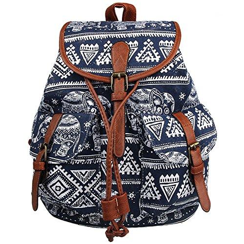Xidan FL1 Retro Floral Printed Leisure Canvas Shoulder Backpack Travel Bag Blue Elephant