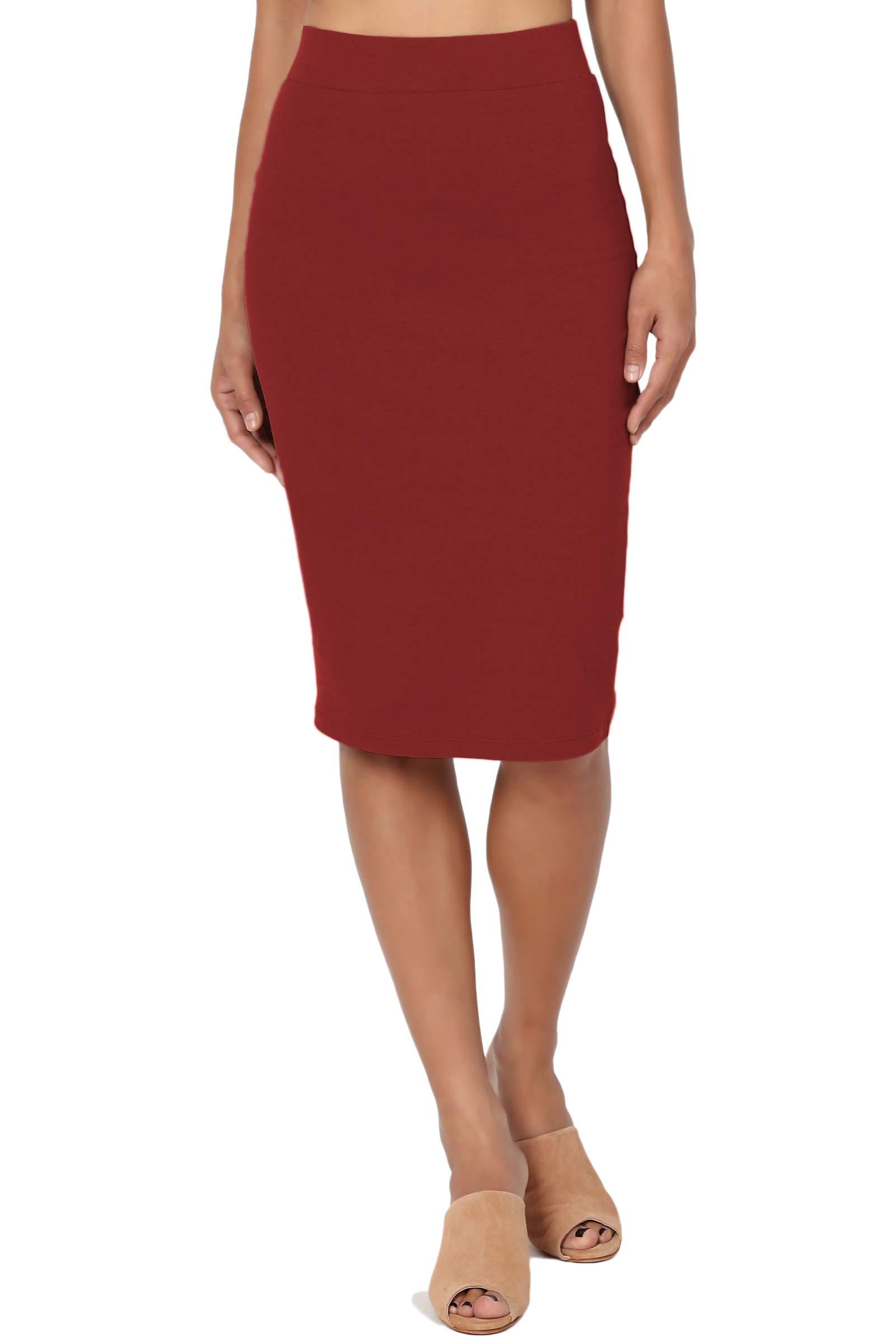 TheMogan Women's Stretch Cotton Elastic High Waist Pencil Midi Skirt Brick S