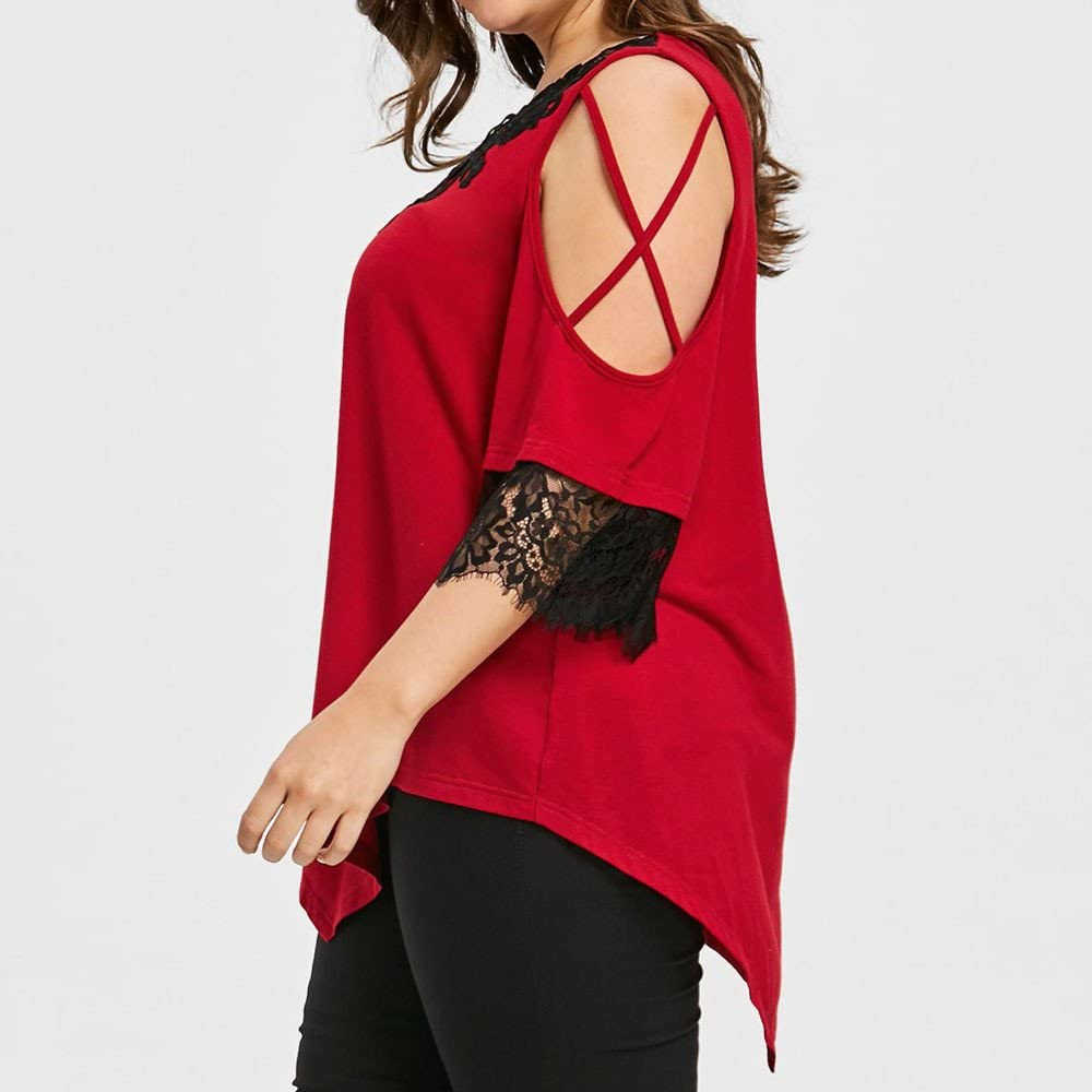 Womens Casual Lace Cross Cold Shoulder Irregular Blouse Keepfit Large Size Tops