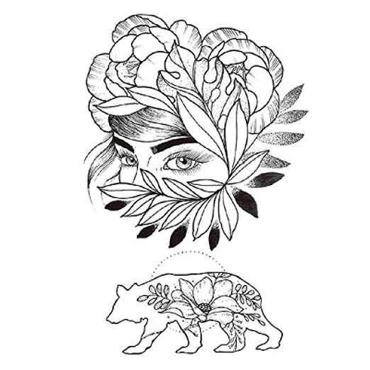3 unids Moda Tatuaje Femenino Pegatina Rosa Negra diseño Flor ...