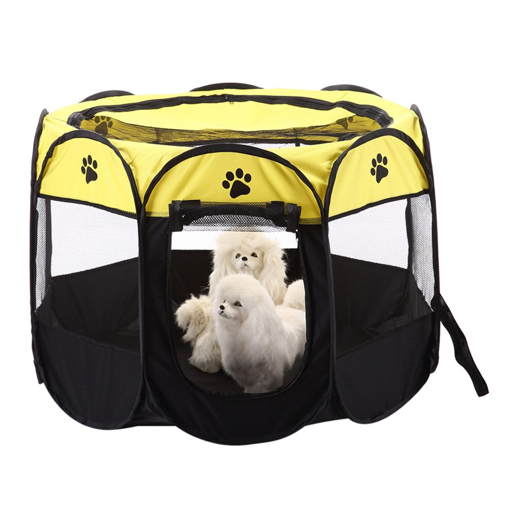 Yunt Folding Cat House Portable Waterproof Pet Playpen Foldable 8-side Pet Tents for Dogs and Cats Yellow