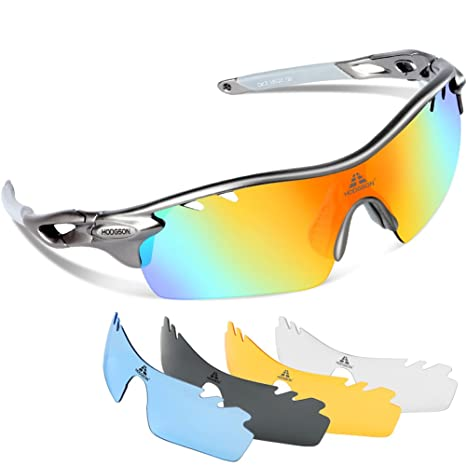 adeeeb9433 HODGSON Polarized Sports Sunglasses with 5 Interchangeable Lenses for Men  Women Cycling Baseball Running Glasses