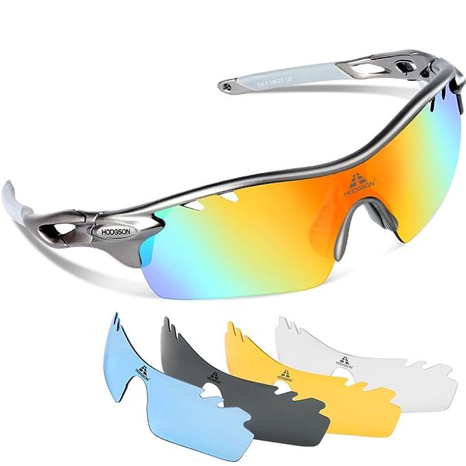 43fb7f54de HODGSON Polarized Sports Sunglasses with 5 Interchangeable Lenses for Men  Women Cycling Baseball Running Glasses