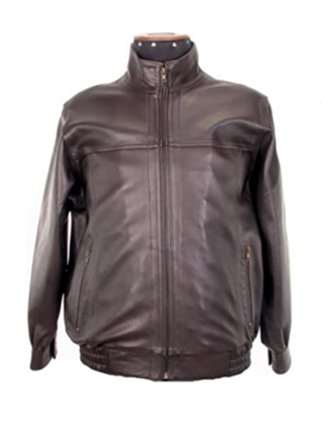 a5a47f2cf6 Alpakaandmore Mens Handsewn Lamb Nappa Leather Jacket Stand-up ...