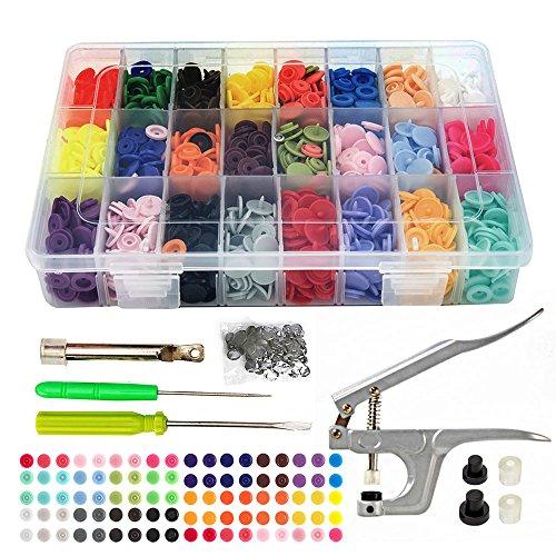 Interlink 375 Pieza T5 Botones de Presión Kit de Costura Snaps Plastico Redondos con Alicates 24 colores, con Caja de...