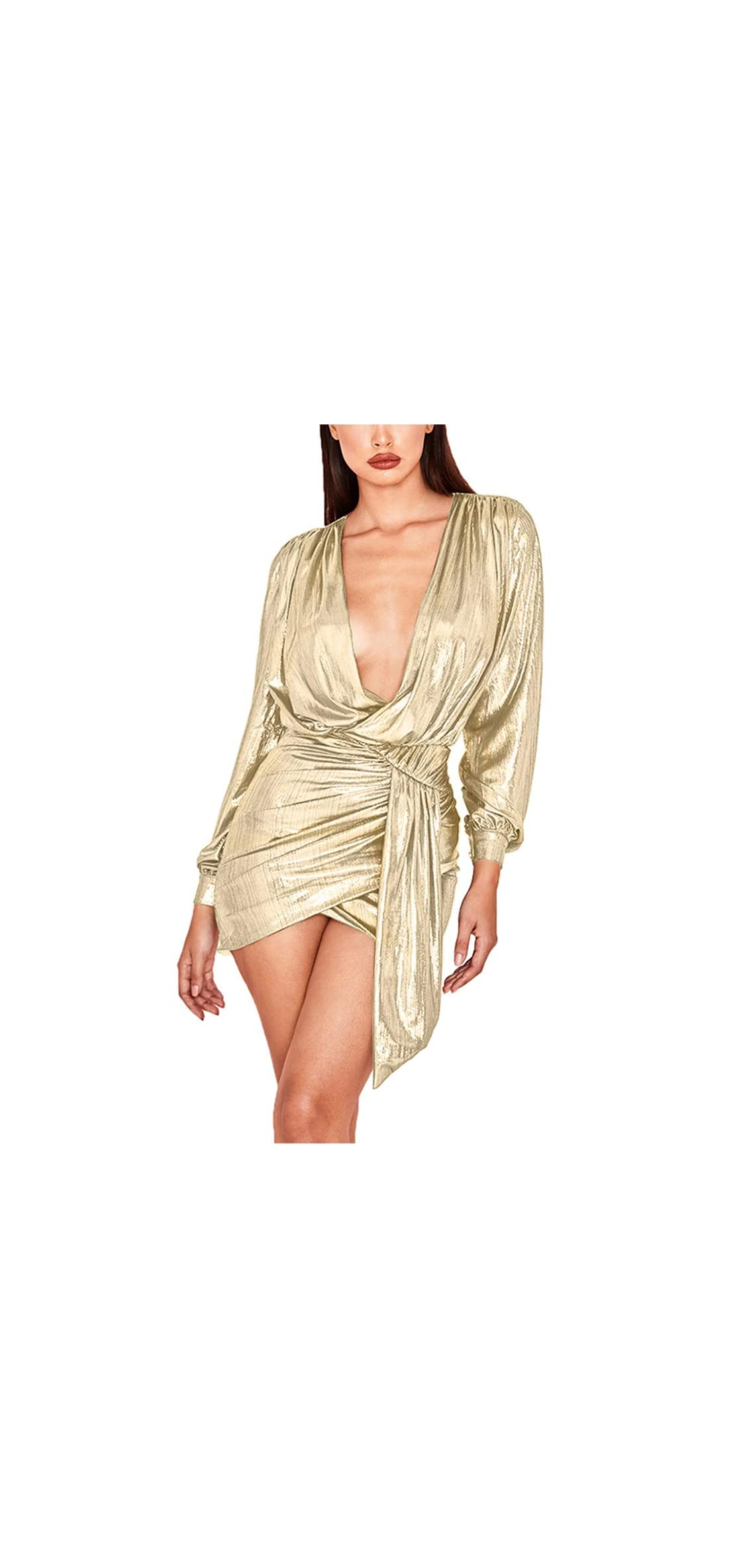 Womens Sexy Deep V Neck Metallic Glitter Ruched Long