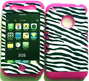 White Black Zebra on Pink Silicone Skin for Apple iPhone 3 3G 3GS Hybrid 2 in 1 Rubber Cover Hard Case fits AT&T Wireless