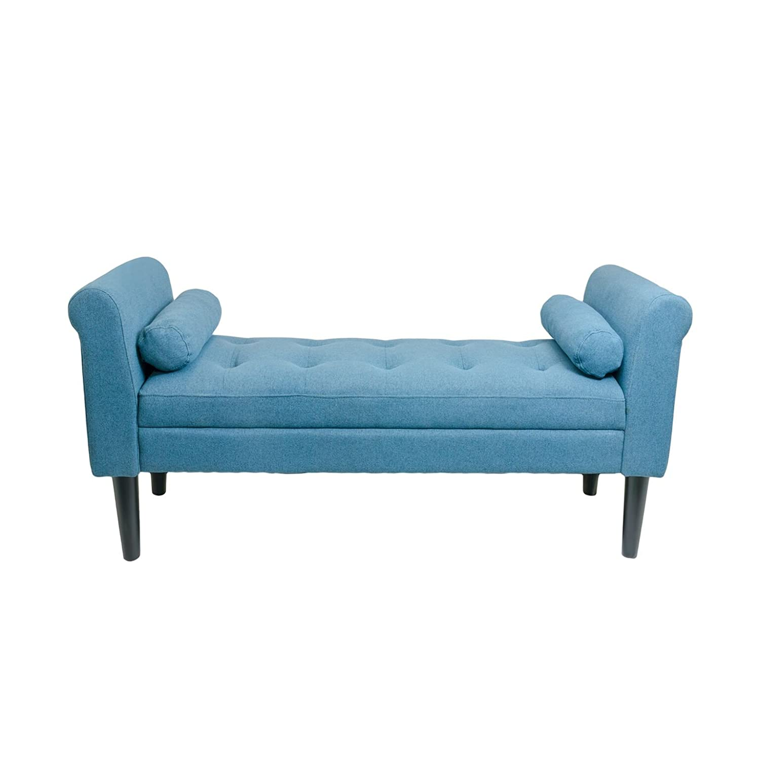 Awe Inspiring Serene Decor Bedroom Bench With Rolled Arms Sapphire Blue Home Interior And Landscaping Elinuenasavecom