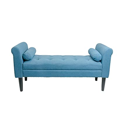 Amazon.com: Serene Decor Bedroom Bench with Rolled Arms (Sapphire ...