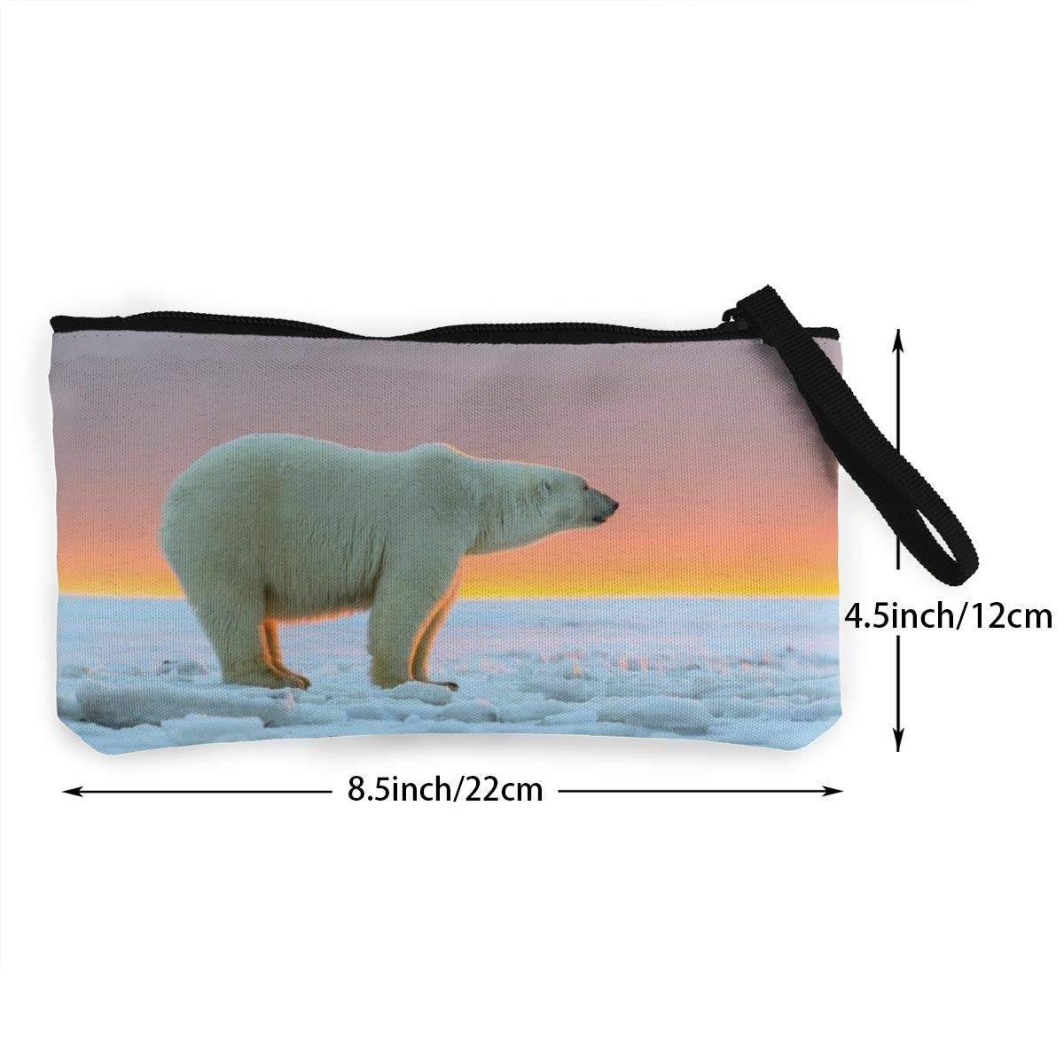 YUANSHAN Polar Bear Unisex Canvas Coin Purse Change Cash Bag Zipper Small Purse Wallets with Handle