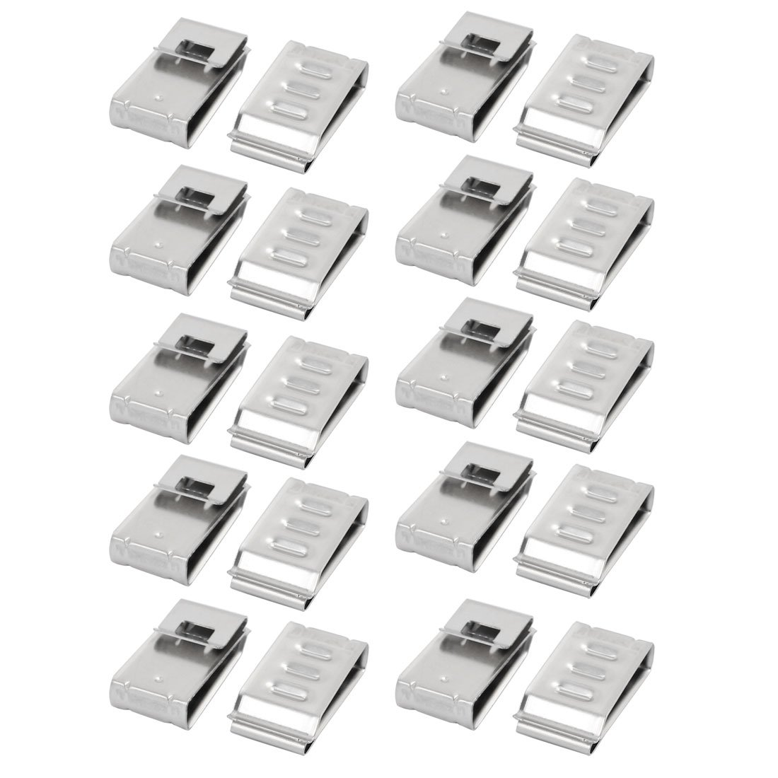 uxcell 20Pcs Solar Mounting Stainless Steel Flat Cable Clamp Fit for 4 x 5mm Dia Cable