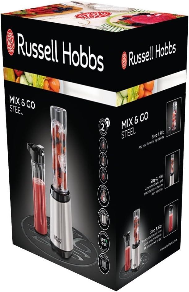 Russell Hobbs Mix & Go - Batidora de Vaso de Mano (300 W, Acero ...