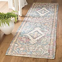 Safavieh Safran Collection SFN564A Hand-loomed Turquoise and Peach Distressed Bohemian Cotton Runner (23 x 8)