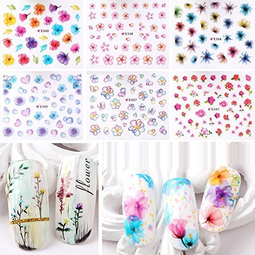 Warm Girl 20pcs Color 3D Flower Design Nail Sticker Decal DIY Nail Art Decoration Kit