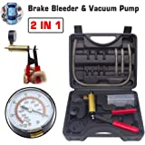 HTOMT 2 in 1 Brake Bleeder Kit Hand held Vacuum Pump Test Set for Automotive with Sponge Protected Case,Adapters,One-Man Brake and Clutch Bleeding System (Black)