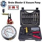 HTOMT 2 in 1 Brake Bleeder Kit Hand held Vacuum Pump Test Set for Automotive with Sponge Protected Case,Adapters,One-Man Brak