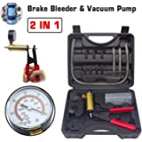 HTOMT 2 in 1 Brake Bleeder Kit Hand held Vacuum Pump Test Set for Automotive with Sponge Protected Case,Adapters,One-Man…