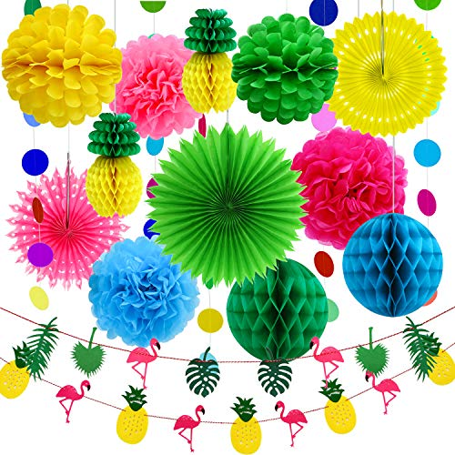 Aneco 15 Pieces Summer Party Decoration Kit Tissue Pineapples Paper Pom Poms Flowers Tissue Paper Fan Polka Dot Paper Garland Flamingo Pineapple Banners for Hawaiian Summer Luau Party