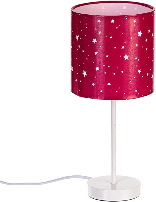 Lampe de chevet abat jour rose fuchsia étoilé