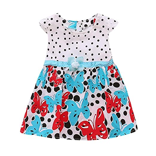 ShiTou Girls Dress&&Girls Dot Butterfly Print Flower Casual Dress Clothes ...