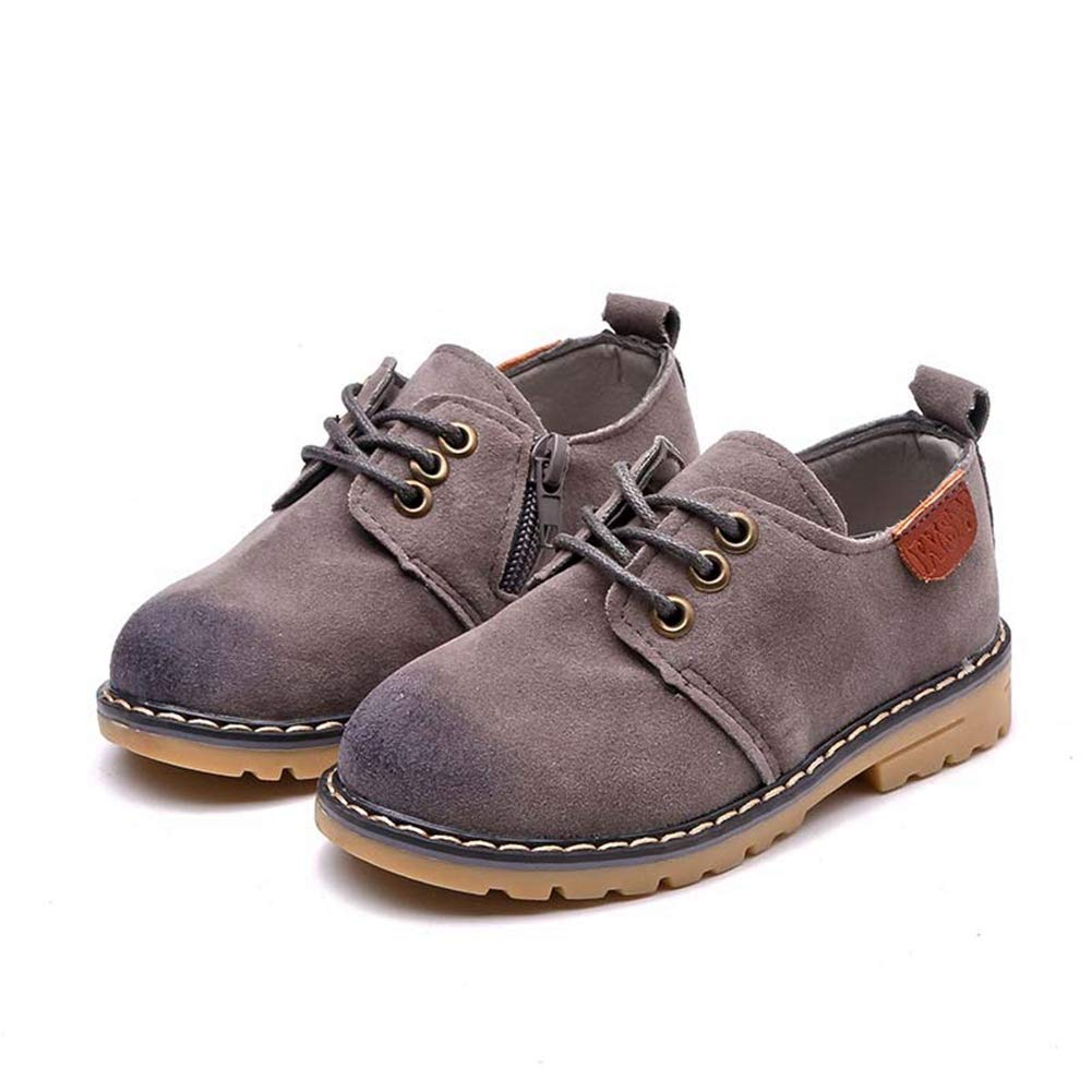 F-OXMY Boys Side Zip Suede Casual Lace-up Anti-Skid Oxfords Dress Shoes (Toddler/Little Kids) Grey