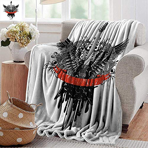 Blankets Fleece Blanket Throw,Rock Music,Guitar Wings Leaf Pattern Ribbon Color Dripping Electronic Instrument Design,Scarlet Black,300GSM,Super Soft and Warm,Durable Throw Blanket 70