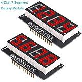 MakerHawk 2pcs 4-Digit 7-Segment Display Module Arduino Digital Display Common-anode LED Display Digital Tube, 56.5X26 MM/2.22X1.02 Inch Red SCM