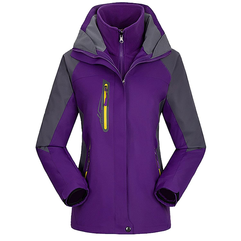 emansmoer Damen 3 in 1 Winddicht Wasserdicht Atmungsaktiv Mantel Outdoor Camping Wandern Sport Jacke mit Warme Fleecejacke