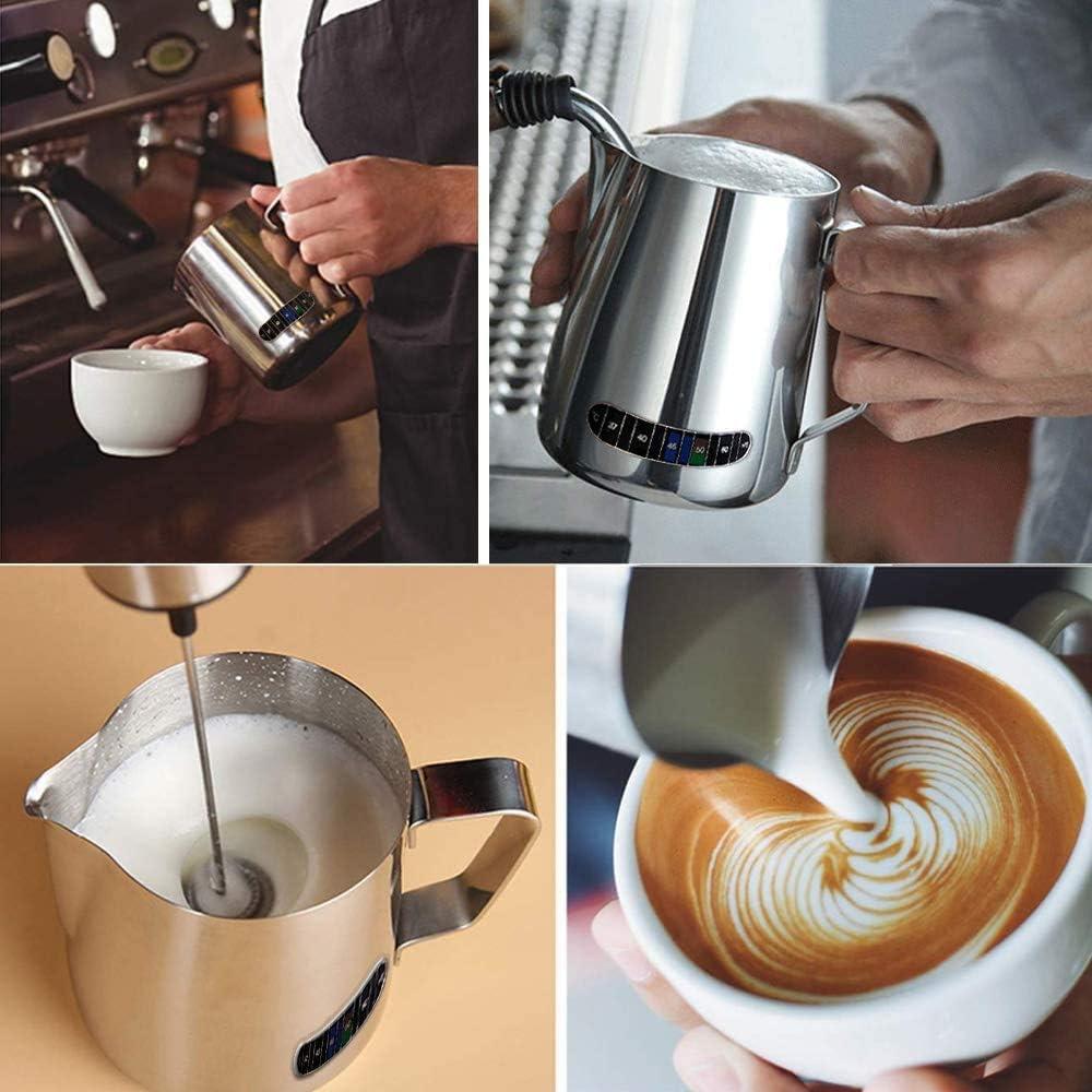 color plateado 600 ml//20 oz KZGRIT capuchino latte Art Jarra de leche de acero inoxidable con term/ómetro para hacer espuma de leche y hacer caf/é