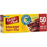 Glad® Zipper Food Storage Plastic Bags - Quart - 50 Count