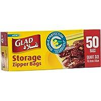 Glad Storage Zipper Bags - 1 Quart - 50 Count