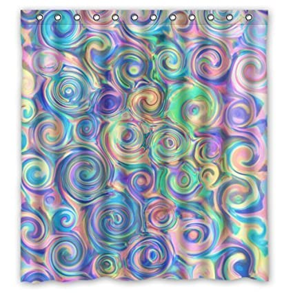 YEHO Art Gallery Stylish Living Elegant Colorful Psychedelic Shower Curtain Swirl Pattern Bathroom