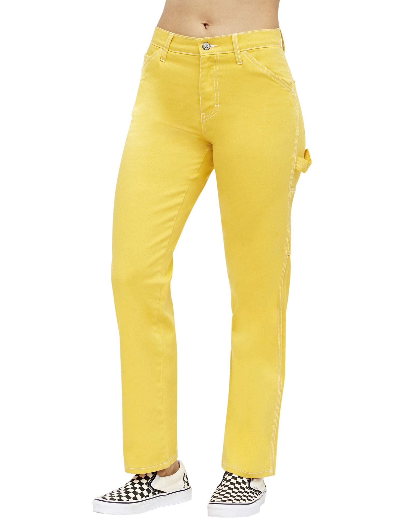 Dickies Girl Juniors' Relaxed Fit High-Rise Twill Carpenter Pants (Gold, 5)