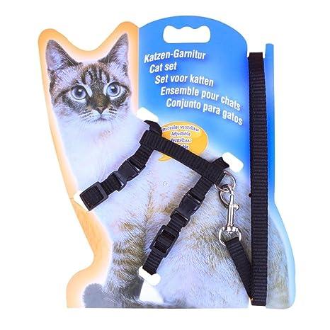 Pawaca Arnés para gato, arnés de nailon ajustable, correa con correa, suave y