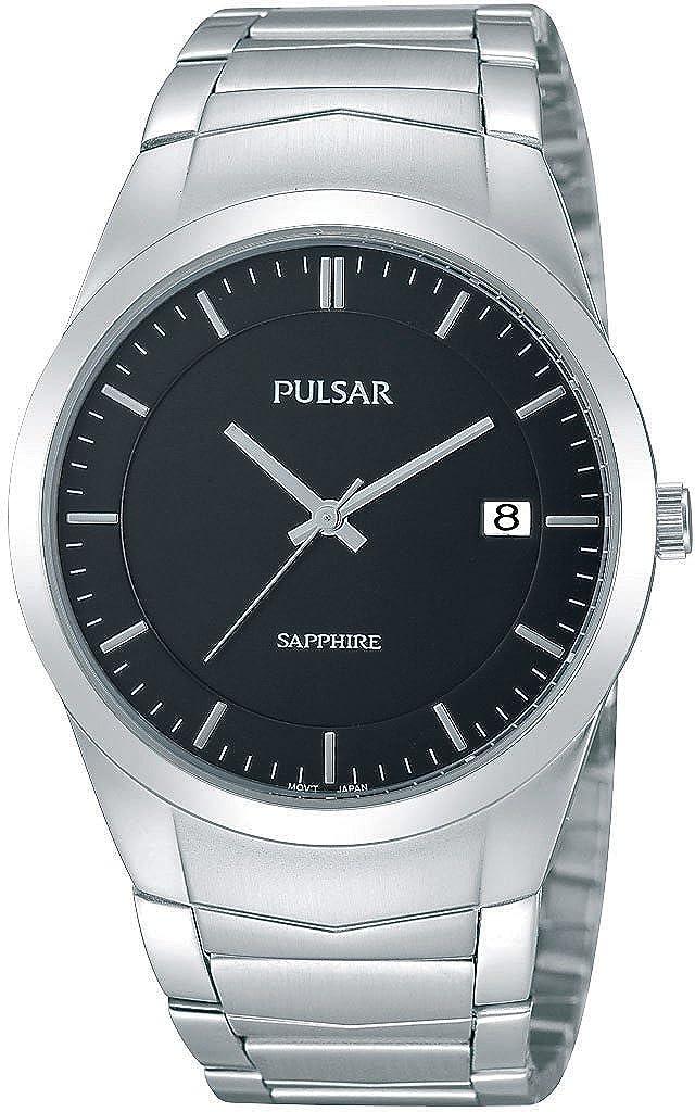 Pulsar Uhren Modern PS9133X1 - Reloj analógico de Cuarzo para Hombre, Correa de Acero Inoxidable Color Plateado