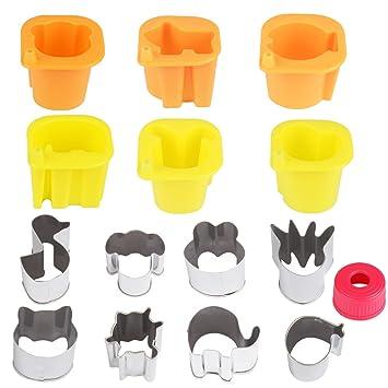 aprince frutas verduras moldes formas Set, 14 piezas Cute animales forma Mini cortador de galletas