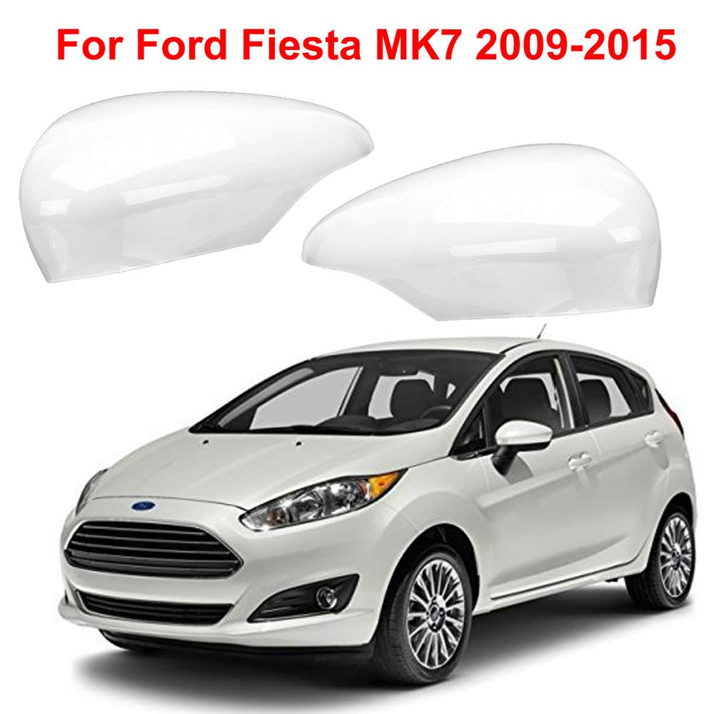 Door Wing Mirror Cover Frozen White For Ford Fiesta MK7 Right Side Pair UK