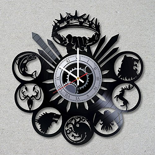 Vinyl Record Wall Clock Game of Thrones HBO Snow Dragons Snow Winter Coming decor unique gift ideas for friends him her boys girls World Art Design (Game Of Thrones Gift Ideas For Him)