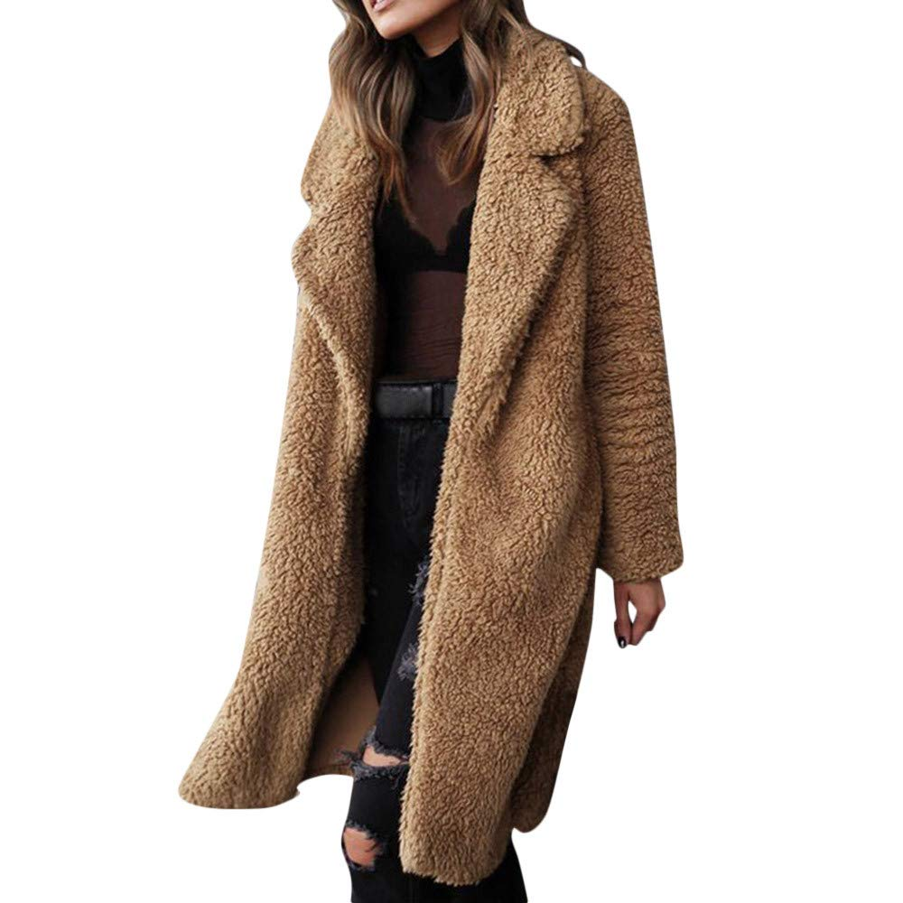 Funnygals - Womens Fluffy Tops Jacket Long Sleeve Open Front Cardigan Faux Fur Fleece Coat Outerwear for Winter Autumn Coffee by Funnygals - Clothing