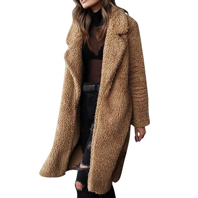Yvelands Mujeres Abrigo de Solapa cálido Bolsillo de Manga Larga Blusa Frente Abierta Chaqueta Abrigo Prendas