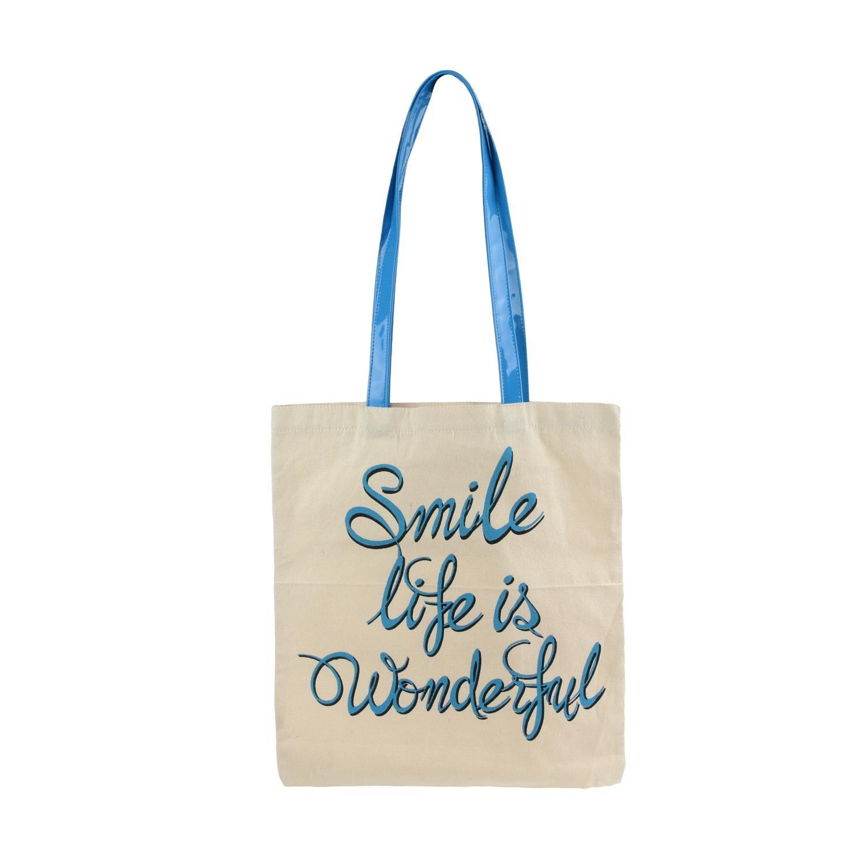 KINEA CONCEPT Tote Bag Coton thème Humour Fluo, 4 Inscriptions au Choix, Sac de Courses, Sac de Cours, Sac Cabas (Bleu)