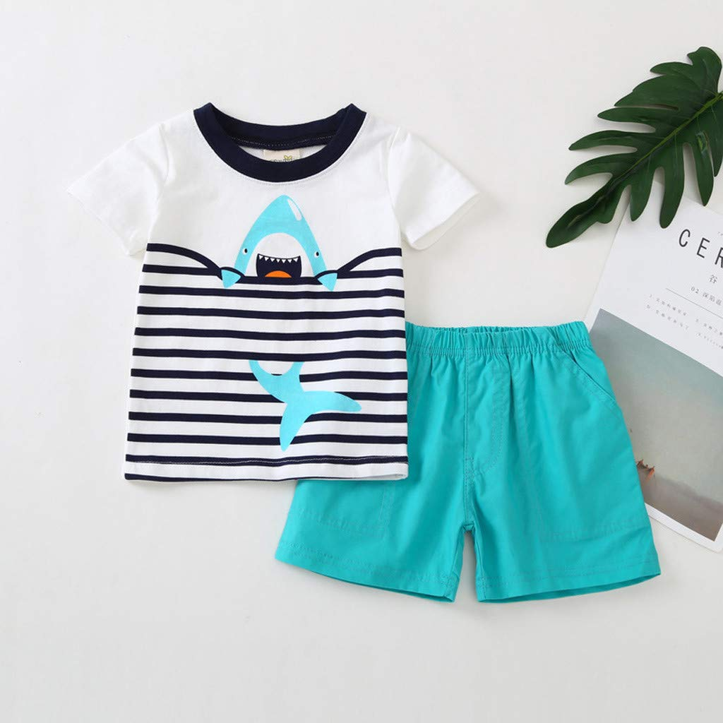 SIN vimklo Shorts Set,Infant Short Sleeve Cartoon Shark Printed Suit Clothes
