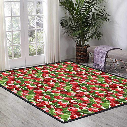 Apple Floor Rug Red Apples and Green Leaves Organic Food Garden Harvest Eating Clean Theme Print for Various Areas 55.11 Inch x 62.99 Inch Red Green White ()